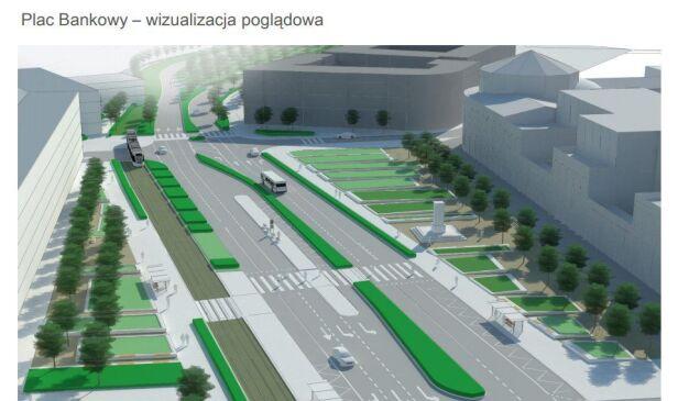 Tak mógł wyglądać plac Bankowy (koncepcja) RS Architektura Krajobrazu