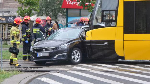 Aleja Jana Pawła II: zderzenie tramwaju z autem