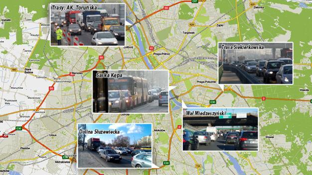 5 najbardziej zakorkowanych miejsc w Warszawie