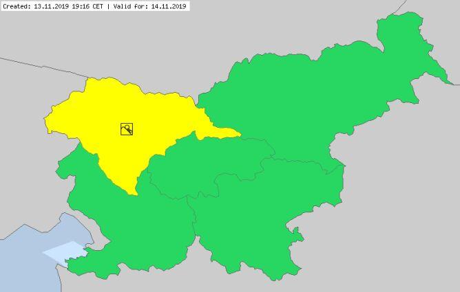 Ostrzeżenia meteorologiczne dla Słowenii na czwartek (meteoalarm.eu)