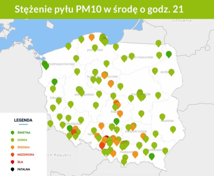Stężenie pyłu PM10 w powietrzu. Stan na 21 (GIOŚ)