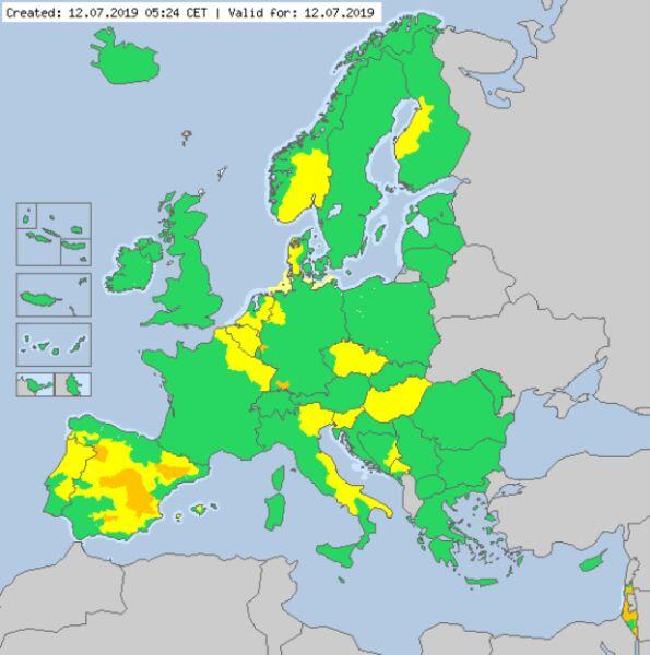 Ostrzeżenia meteorologiczne dla Europy na piątek (meteoalarm.eu)