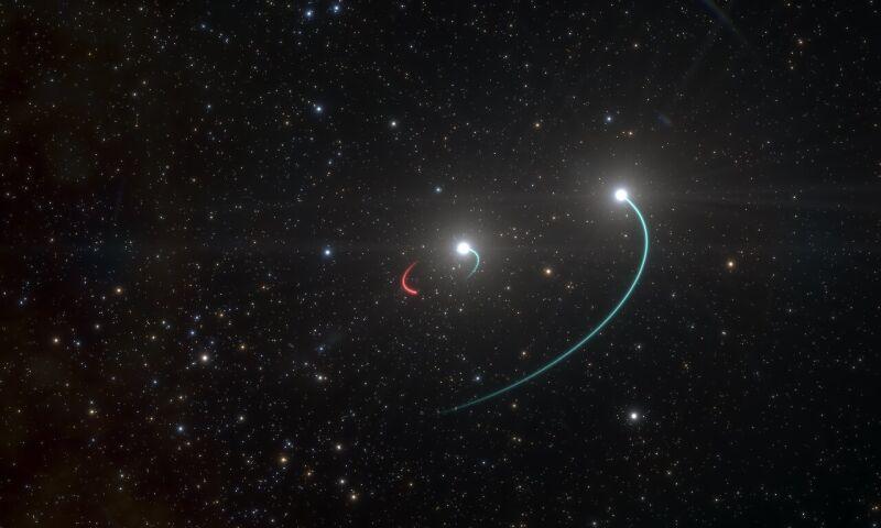 Artystyczna wizja układu potrójnego z czarną dziurą (ESO/L. Calçada)
