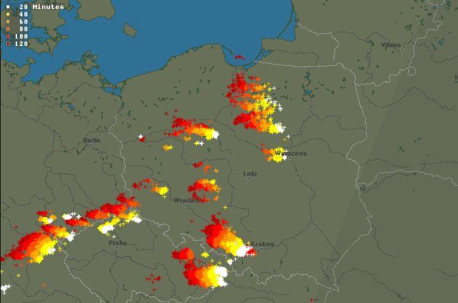 Burze nad Polską, poniedziałek 19.30